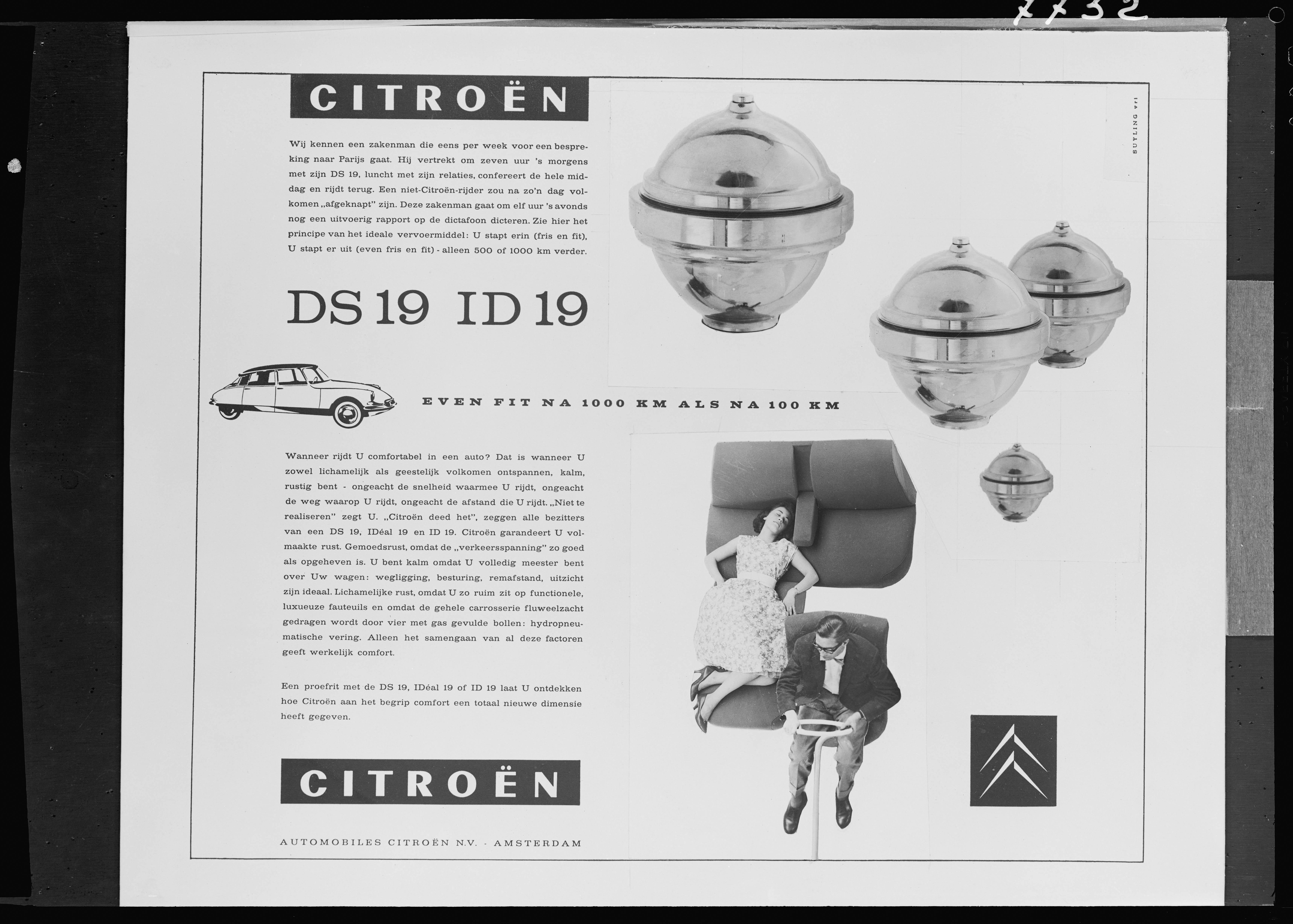 DS 19のオランダの広告  - 1959年