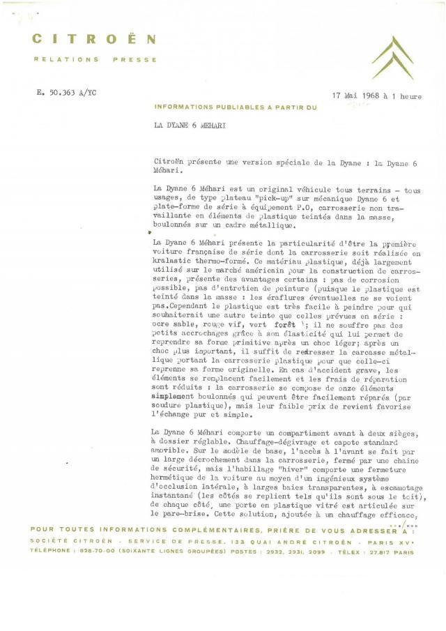 communique de presse dyane 6 mehari 1968